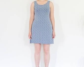90s Light Blue Mini Daisy Mini Dress