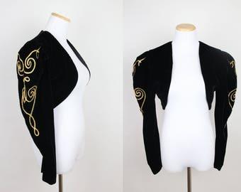 Vintage Black Velvet Bolero Jacket + SMALL + 90s Climax by Karen Okada + Gold Ribbon Embellished Sleeves + Puffed Sleeve + Long Sleeve +