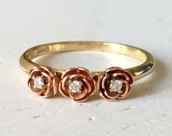 Stunning Detail Vintage 18k Yellow and Rose Gold Flower Diamond Engagement Ring Size 6.5