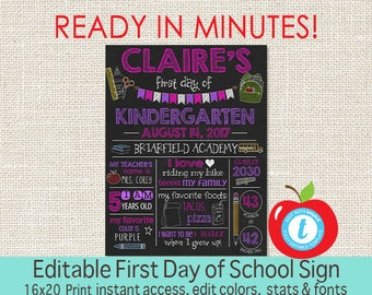 First Day of School Sign, EDITABLE Girl Chalkboard, First Day of School, ANY GRADE, Back to School, 1st Day Printable Sign, Instant Download