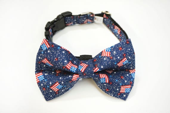 Fourth of July Glitter Holiday Red White and Blue Bow Tie and Collar