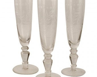 Etched Champagne glasses, set of four