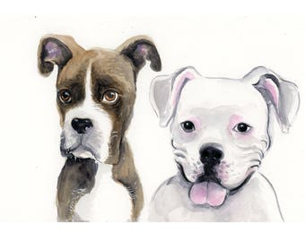 "8""x10"" Custom Pet Portrait Illustration - Watercolor Painting"