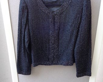 Vintage 1960's to 1970's Black Fully Beaded Sweater
