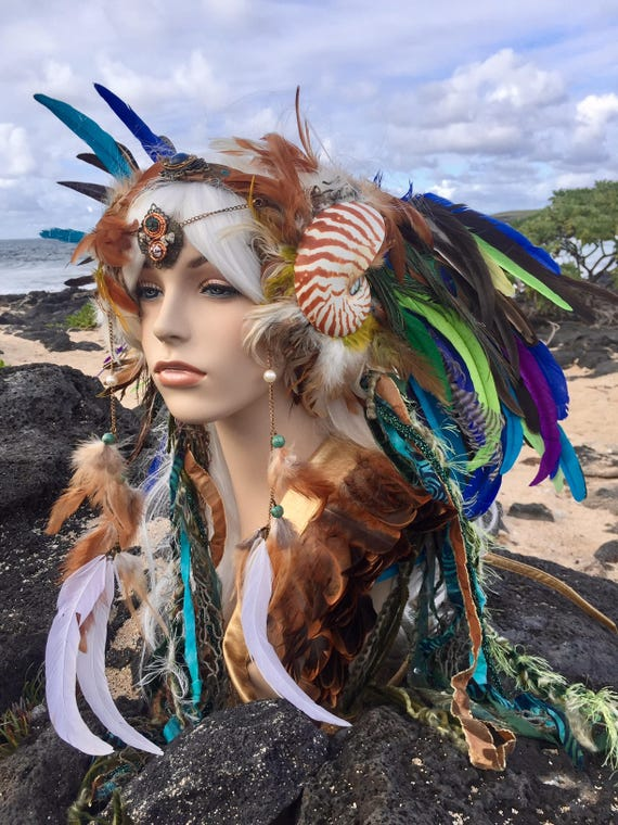 "READY TO SHIP - Mermaid Nautilus Shell Headdress  - ""Namaka"" Burning Man, Festival,  Siren, Festival, Goddess, Fantasy, Costume,"