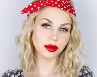 Red and white polka dot rockabilly wire headband Rosie the Riveter Mini Mouse