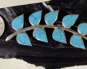 925 Sterling Silver and Turquoise Fern or Branch Pin, Absolutely Gorgeous, Made in Mexico