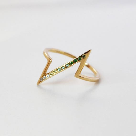 Ombre Gemstone Breakline Ring 10K Gold Ring Green Stone