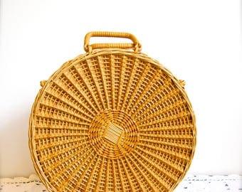 round woven picnic basket / craft storage / organization