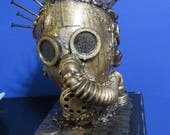 GAS Mask Diesel Punk Dystopian Faux Bronze Original sculpture by TW Klymiuk