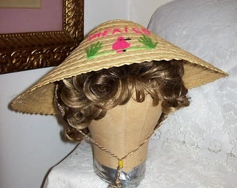 Vintage Woven Straw Sun Hat Mexico Souvenir Only 7 USD