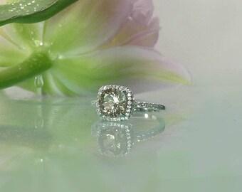 Square Halo Ring, Gemstone Halo Ring, Unique Halo Ring, Halo Promise Ring, Halo Engagement Ring, Herkimer Diamond, Diamond Alternative