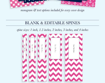 Preppy Binder Covers and Spines Monogram Binder Covers