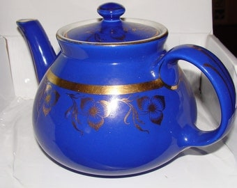 Teapot, Bold Blue Glazed Hall Teapot, 6 Cup, No. 036, Made in U.S.A., Gold Trim