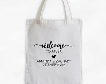 Wedding Welcome Bag - Destination Wedding Cotton Canvas Tote Bag- Personalized Vacation Travel Bag in Black (3041)