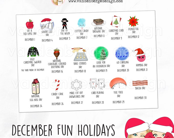 Planner Calendar Stickers - December Fun Holidays - Perfect for all planners! Silly Fun Holidays