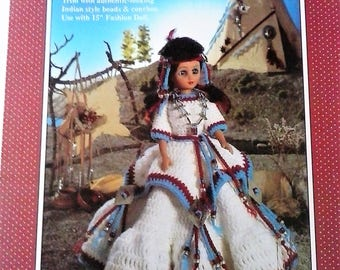 Indian Princess Crochet Doll Pattern - Native American Princess Doll Pattern - Fibre Craft 1991
