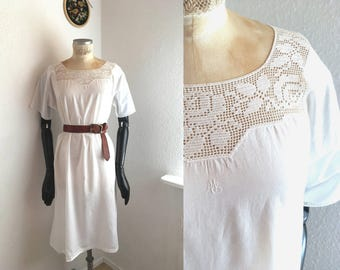 Vintage Dress White cotton Nightgown Full lenght Underwear Lingerie Dress Crochet lace collar monogram French country style