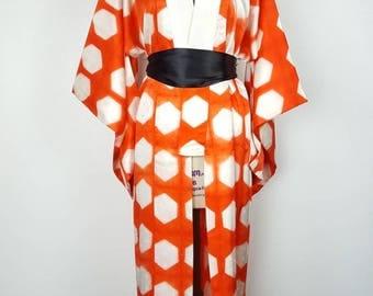 Orange and White Hexagon Nagajuban - One Size