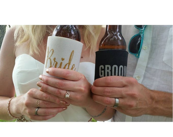 Bride and Groom Wedding Can Coolers | hubby and wifey | FREE Standard Shipping