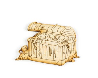 Treasure Chest, Craft Pirate, Wood Pirate, Laser Cut - 1qty - 4 x 3.5 Inch (10.16 x 8.89cm) - Treasure Chest Design,Pirate Decor, DIY Crafts
