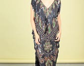 70s Multi Color Sequin Slouchy Dress Vintage Black Embroidery Dress