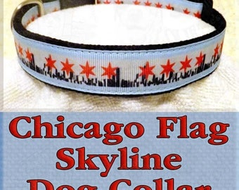 Designer Chicago Skyline and Chicago Flag Novelty Dog Collar