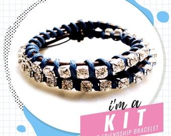 blue silver friendship bracelet kit, DIY wrap bracelet kit, DIY friendship bracelet kit, make a bracelet, jewelry supplies