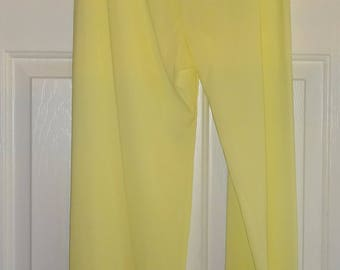 Vintage Pajama Pants Yellow Nylon Shadowline Size 34
