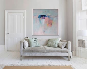 "gicleé print, ABSTRACT print of original painting, blue, grey pink, white, ""Embellish #16'"
