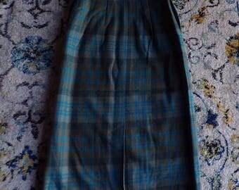 1960's KERRYBROOKE PLAID SKIRT green blue xs 24 waist 60's