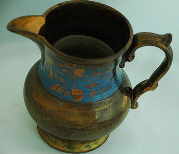 "Reduced Antique C 1800s COPPER LUSTRE WARE English Pitcher 1 1/2"" Blue Band w/ Copper Flora Motif, 4 5/8""T Exc Condition, Great Patina"