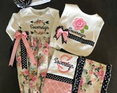 Floral baby shower gift, Personalized Floral Baby Gift, Tribal Floral Newborn Gown, Floral Burp Clothes, Floral Bib
