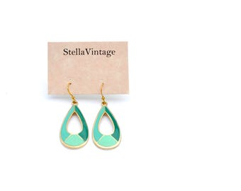 Nature green and gold dangle earrings