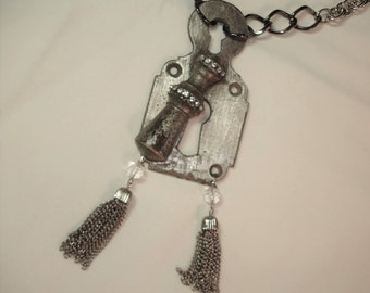 Vintage Keyhole Plate With Moveable Cover - Assemblage Necklace - Upcycled with Rhinestone Trim- Silver beads- Chain Tassels -Vintage chains