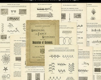 Printable Vintage Sewing Fancy Stitches Aged Book Pages with Illustrations Digital Download JPG Format