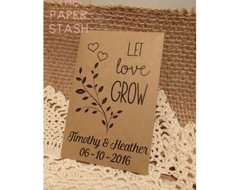 Seed Packet, Custom, Weddings, Favour, Let Love Grow, Personalized, Envelope, DIY, Seeds, Herbs, Plant with Love, Seed Favours, Wedding