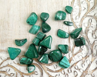 Malachite Tumbled Stones - Malachite Polished - Healing Crystals - Stones - Reiki Crystals - Money - Green - Tumbled Stones and Crystals