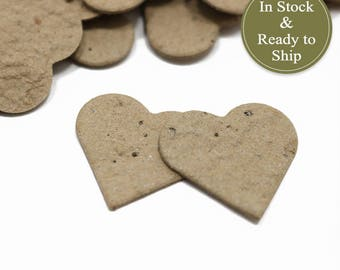 Recycled Kraft Plantable Seed Paper Confetti Hearts - READY-TO-SHIP - Eco-Friendly, Wedding Favors, Bridal Shower Favors & Baby Shower Favor