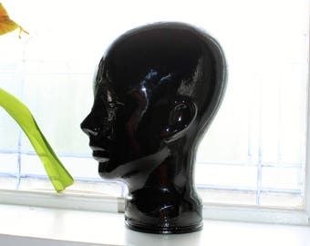 Black Glass Head Bust Model Mannequin Vintage 1970s