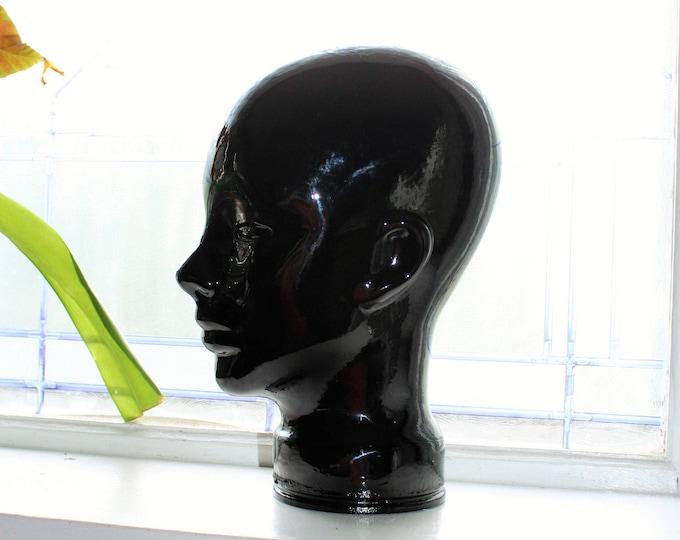 Black Glass Head Bust Model Mannequin Vintage 1970s