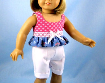 Doll Clothes 18 Inch - Doll Play Outfit - Fits American Girl Dolls - Pink and Blue Doll Hat Top and Shorts - 18 Inch Doll Clothes