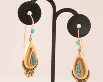 Beautiful Large Victorian 15K Yellow Gold Turquoise Earrings