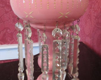 Antique Victorian Cased Pink Bohemian Glass Luster Lamp with Crystal Spears