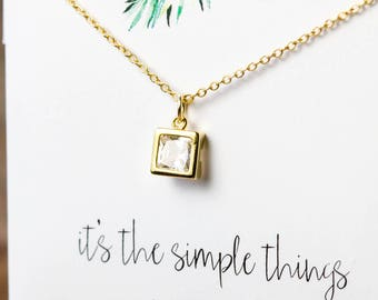 Simple dainty square CZ bezel necklace | Gold plated layering necklace | Gifts for her under 20 | Square CZ pendant | Geometric jewelry |