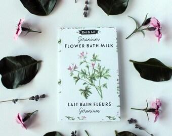 geranium flower bath milk sachet, heirloom seed packet inspired moisturizing bath powder