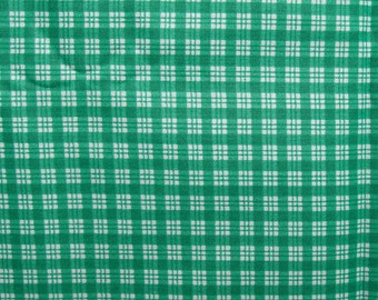 PLAID COTTON FABRIC 2 yd Teal Green & White The Kesslers Decorator Quilt Sew Craft