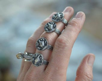 Victorian hand ring. Small hand charm. Vintage hand. Sterling Silver rings. Hand holding flowers
