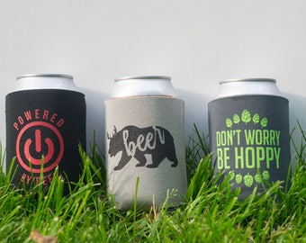 Funny witty beer can cooler trio - three pack - stocking stuffer - Beer Bear - Powered by Beer - Don't Worry Be Hoppy