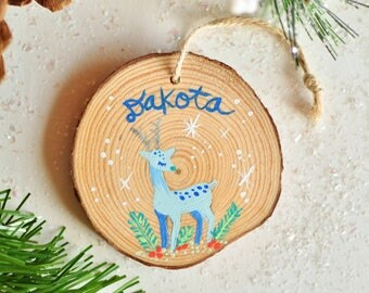Personalized Gift for Kids. Deer ornament. Ornaments for Boys. Christmas Ornament Wooden. Christmas Gift for Nephew. Painted Wood Ornaments